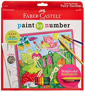 Faber-Castell Young Artist Paint By Number Kit Fairy Garden, Kids Watercolor Art Kit