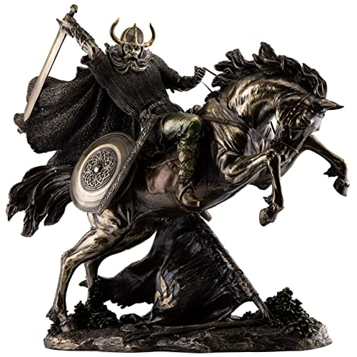 Top Collection Viking Warrior with Sword Riding Horse Statue – Valhalla Norse Gods Sculpture in Premium Cold Cast Bronze – 18.5-Inch Collectible Nordic Figurine