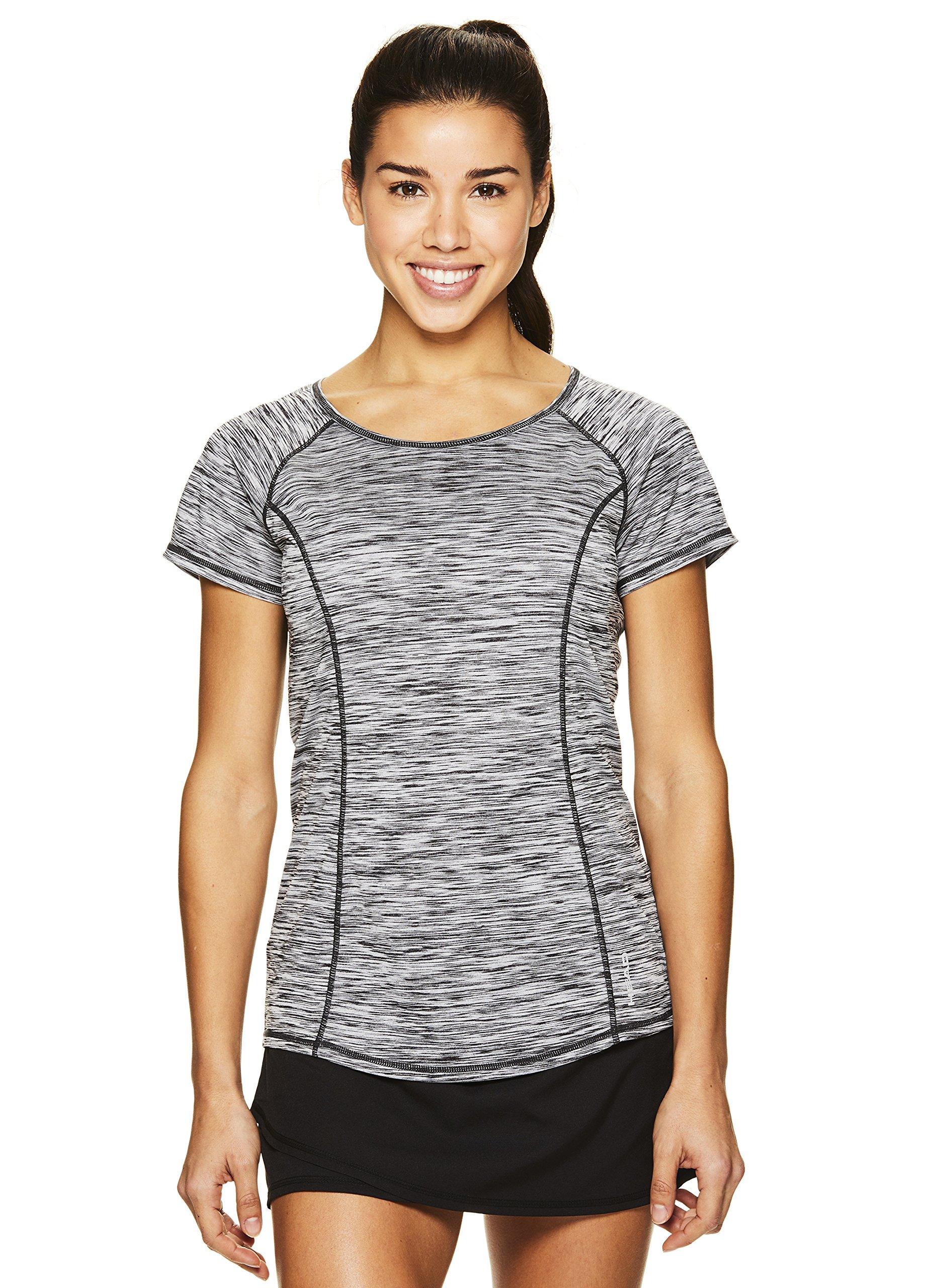 HEAD Women's Serena Short Sleeve Workout T-Shirt - Performance Crew Neck Activewear Top - Black Heather, X-Small