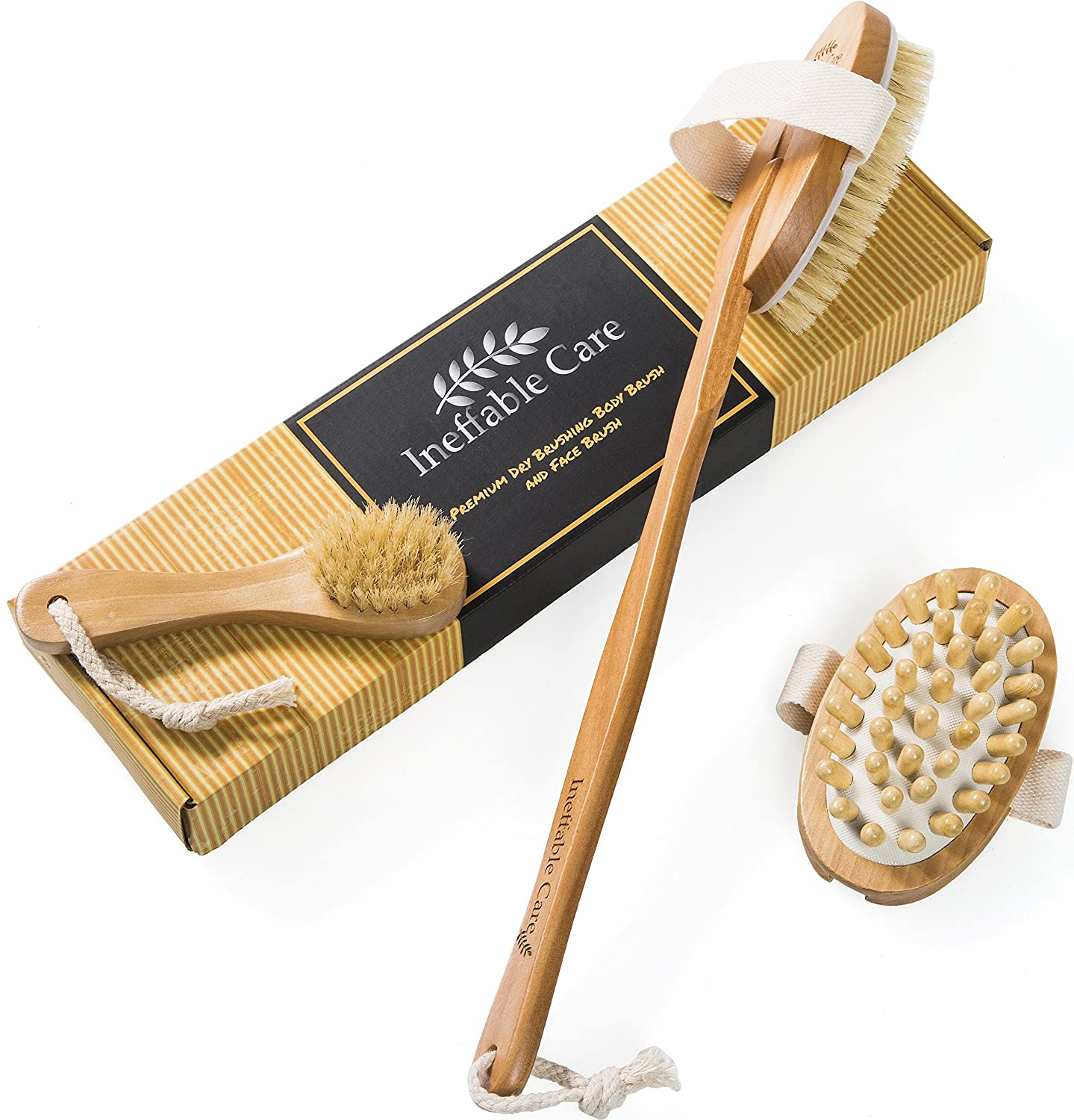Dry Brushing Body Brush for Dry Skin Brushing & Exfoliating with 100% Natural Boar Bristles & Long Handle kit - Back Brush Scrubber, Bath & Shower Brush, Face Brush, Cellulite Massager Brush Gift Set Ineffable Care