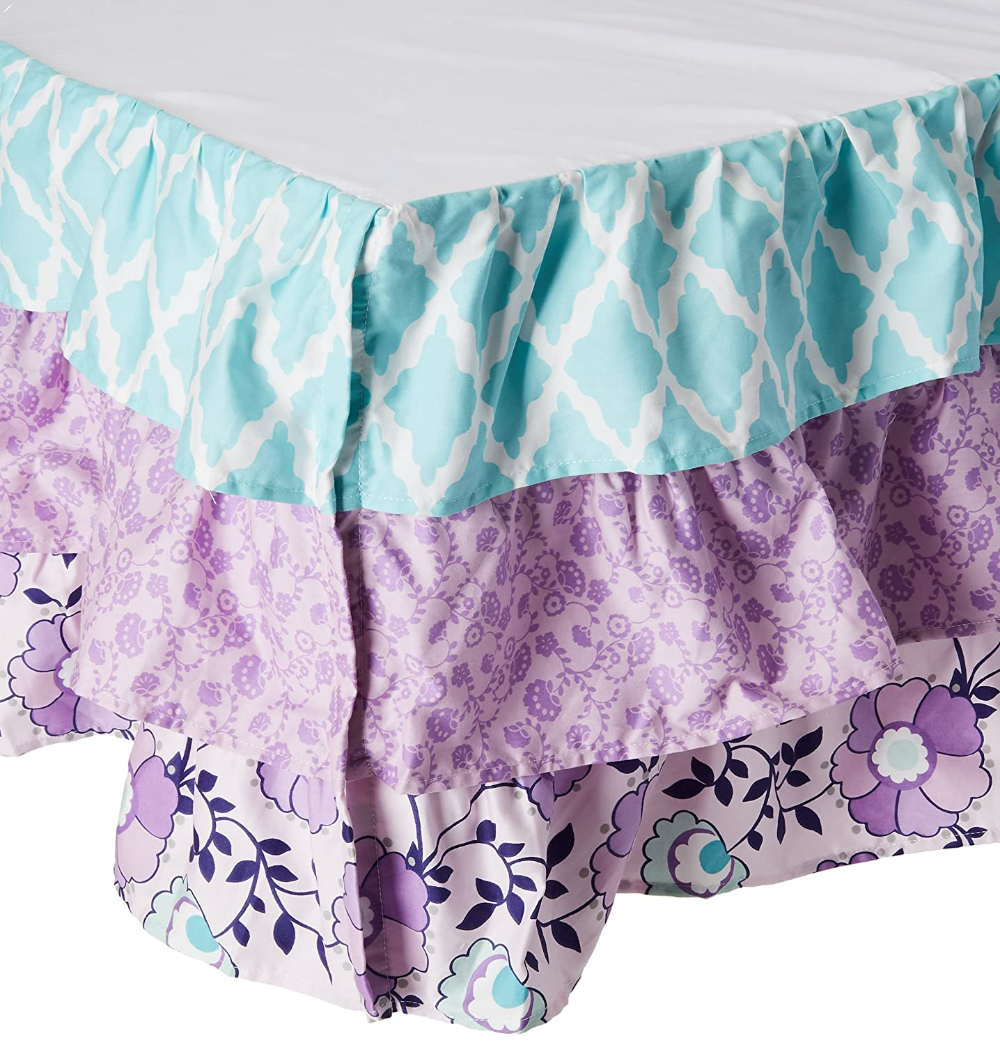 Zoe Lavender and Purple Floral and Geometric Prints Layered Crib Dust Ruffle Farallon Brands DRPS-ZOE
