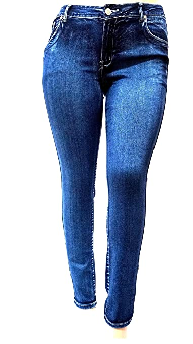 dcd9fe59e2865 SL 1826 Womens Plus Size Stretchy Blue Skinny Denim Jeans Pants 1 X 2X 3X  at Amazon Women s Jeans store