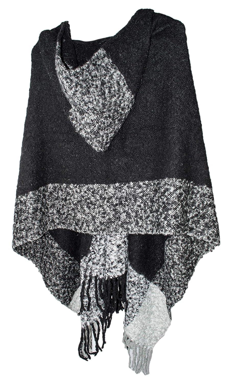 Plush Color Block Pashmina Shawl Hood, Soft Open Winter Poncho Hoodie w/Toggle