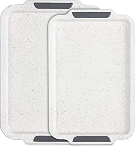 Viking Culinary Ceramic Coated Nonstick Bakeware Set, 15 Inch and 17 Inch, Cookies & Cream