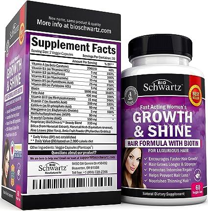 Amazon Com Biotin Hair Growth Supplement With Folic Acid Fast
