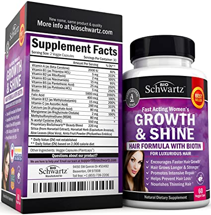 Exclusive Hair Growth Product for Women for Longer, Stronger, Silky & Soft Hair. Visible results in 1 Month. Gluten Free Non-GMO Vitamins for Hair Growth ...