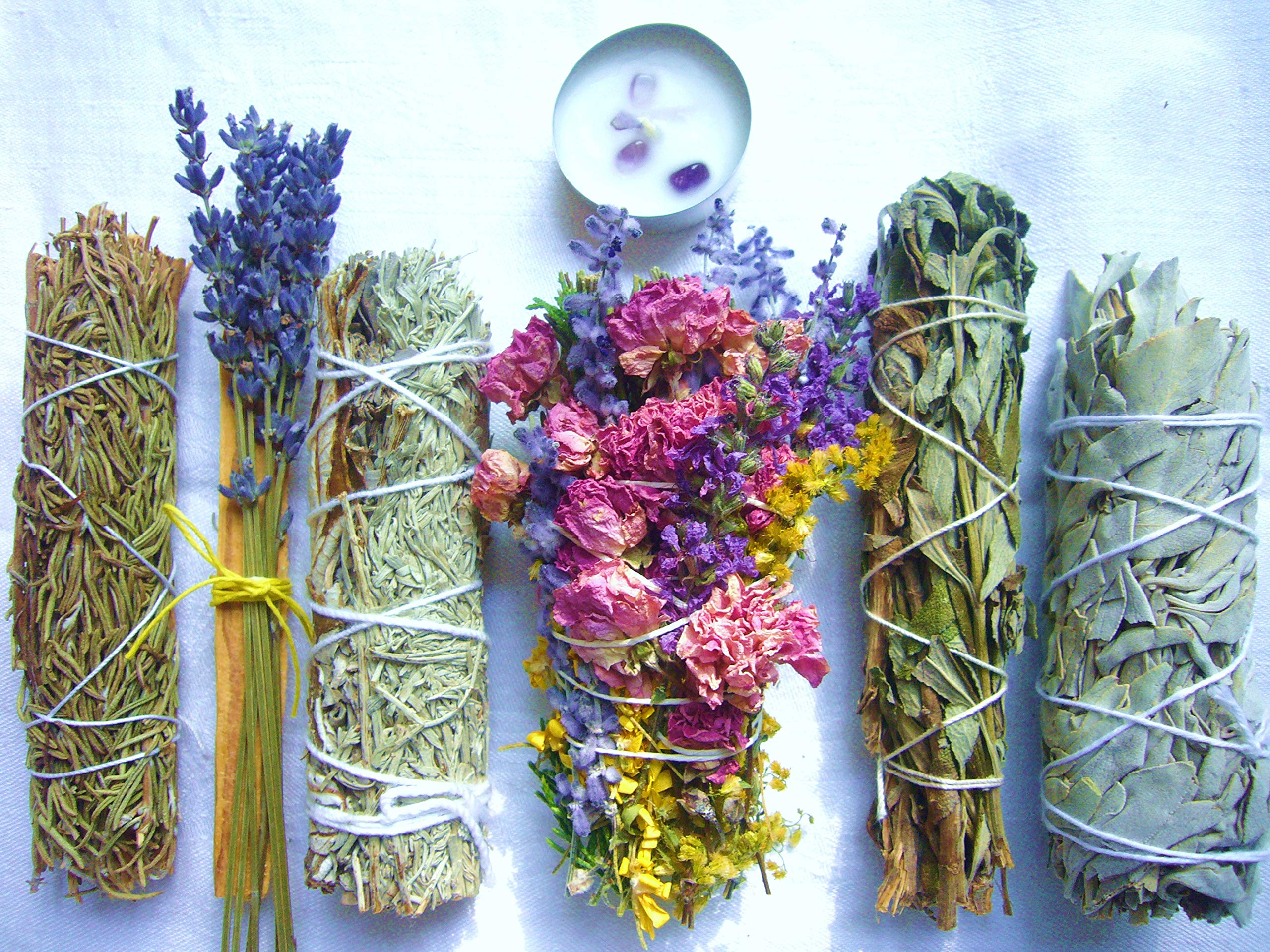 Luxury Smudge Kit | Wild Top Floral Wand, Rosemary, Lavender Smudge Stick, Yerba Santa & Blue Sage, White Sage, Palo Santo, Crystal Candle | Home Cleansing, Blessing, Manifesting, Rituals by L'AMOUR yes!