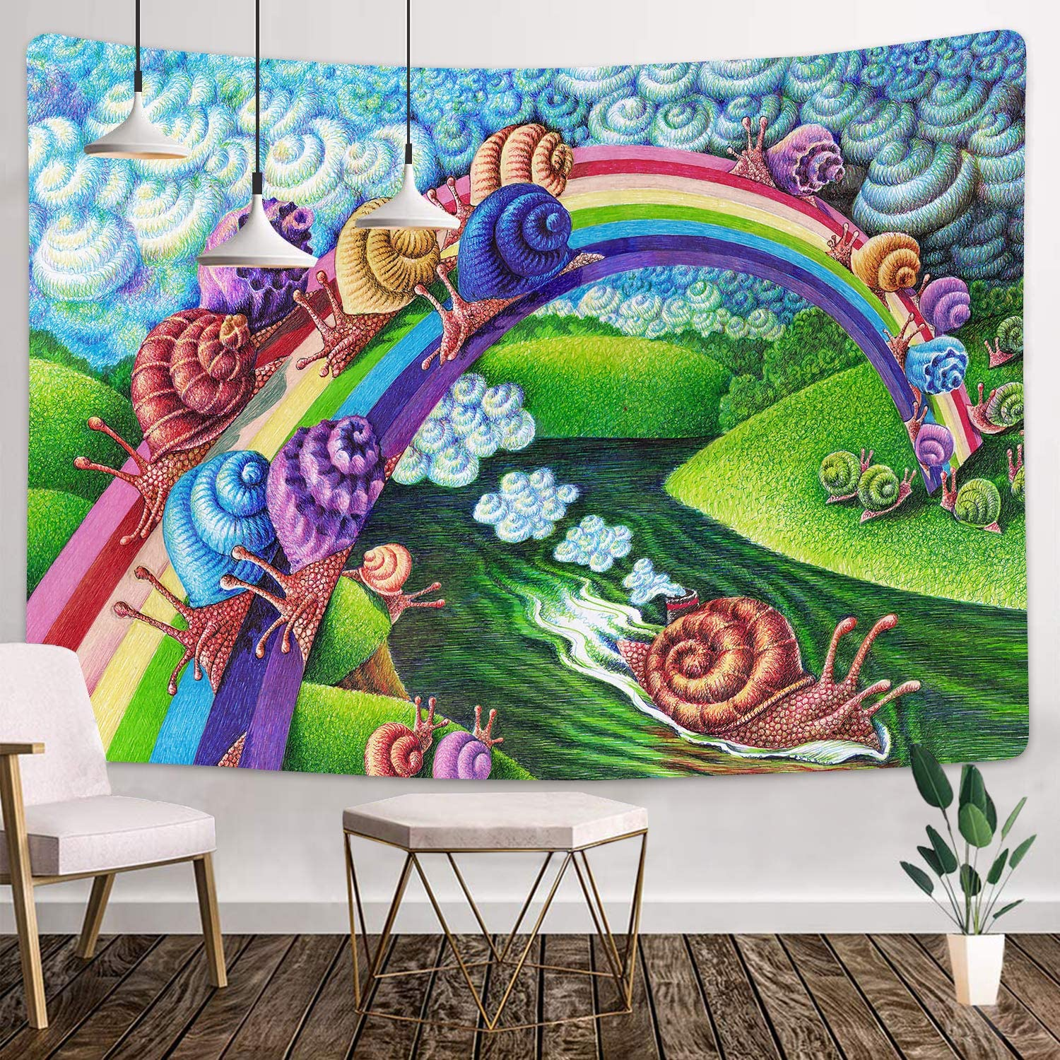 Psychedelic Tapestry 80x60 Inches Rainbow Bridge, Snails Art Tapestry Decor Wall Tapestry for Living Room Dorm Background Tapestries GTHXMT98