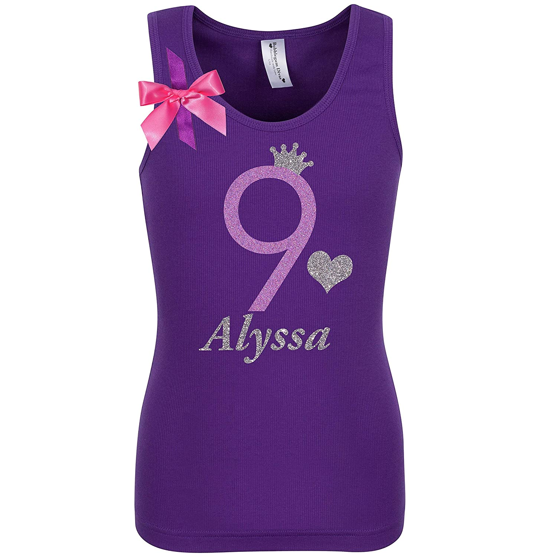 968a56ba63856 Amazon.com: 9th Birthday Shirt Glitter Nine T-Shirt Tank Top Custom Name  Age 9 Tween Girls Party Gift: Handmade