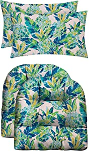RSH Décor Indoor Outdoor Scroll & Medallion Prints - 2 U-Shape Wicker Cushions & 2 Lumbars Weather Resistant - Choose Color (Vida Opal Yellow Green Blue Lily Pineapple)