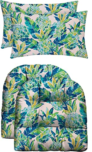 RSH D cor Indoor Outdoor Scroll Medallion Prints – 2 U-Shape Wicker Cushions 2 Lumbars Weather Resistant – Choose Color Vida Opal Yellow Green Blue Lily Pineapple