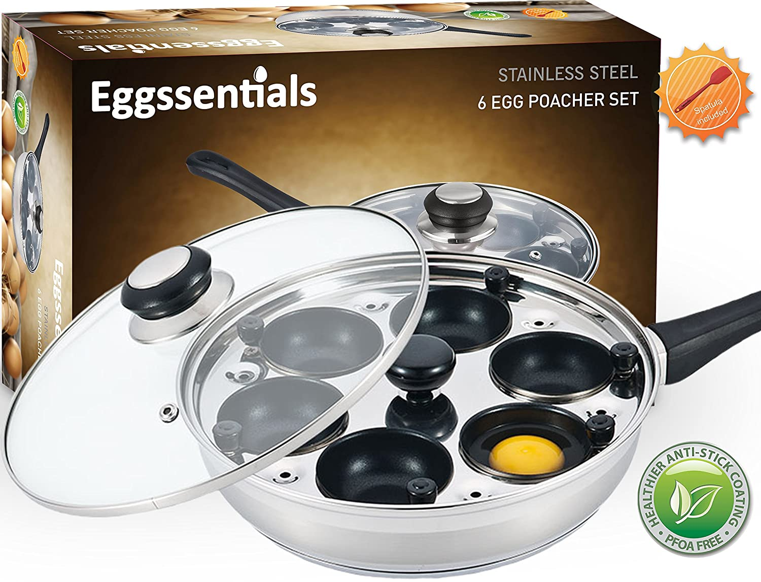 Eggssentials Poached Egg Maker - Nonstick 6 Egg Poaching Cups - Stainless Steel Egg Poacher Pan FDA Certified Food Grade Safe PFOA Free With Bonus Spatula