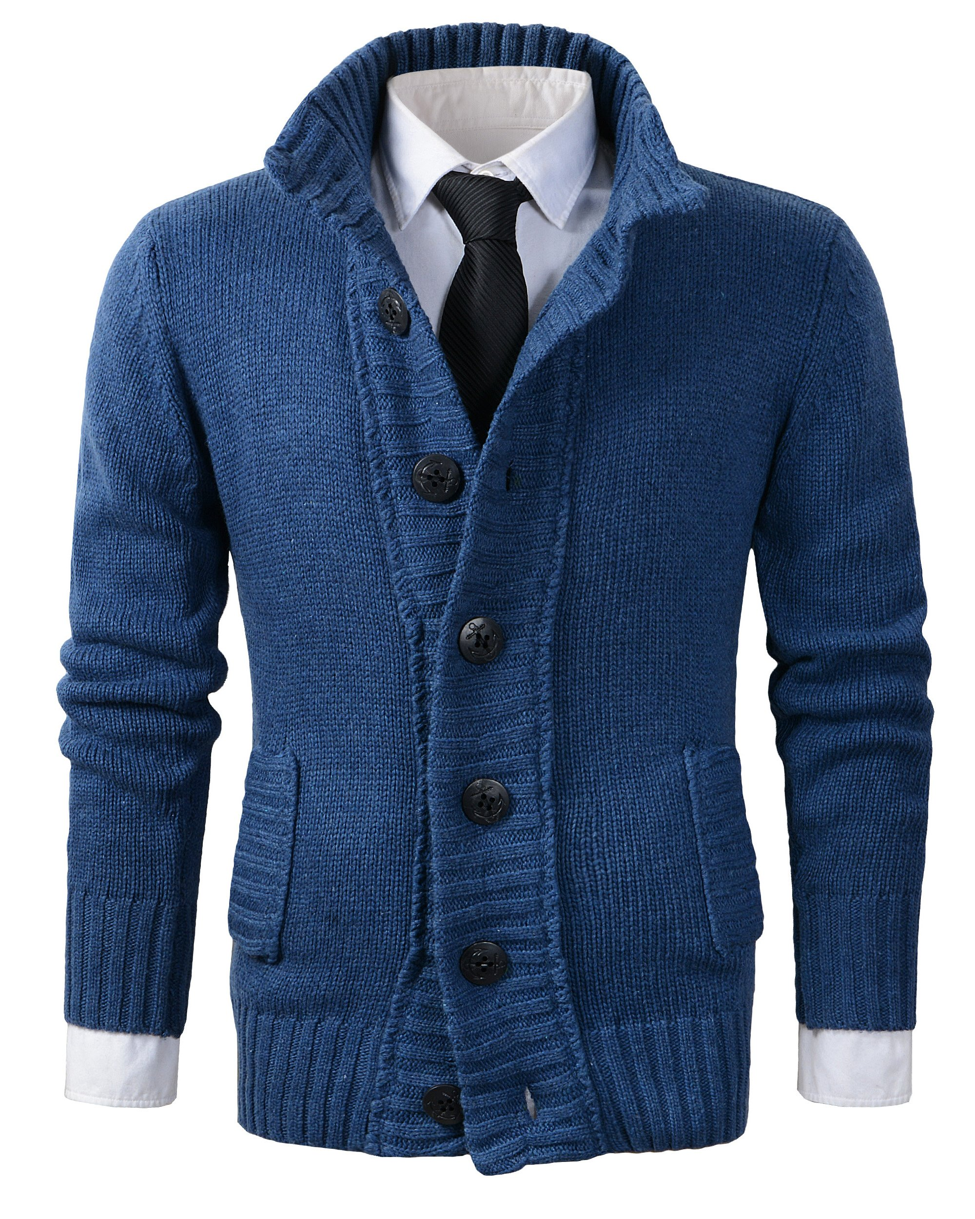 Benibos Men's Button Point Shawl Collar Knitted Slim Fit Cardigan Sweater (M, CYMY Blue)