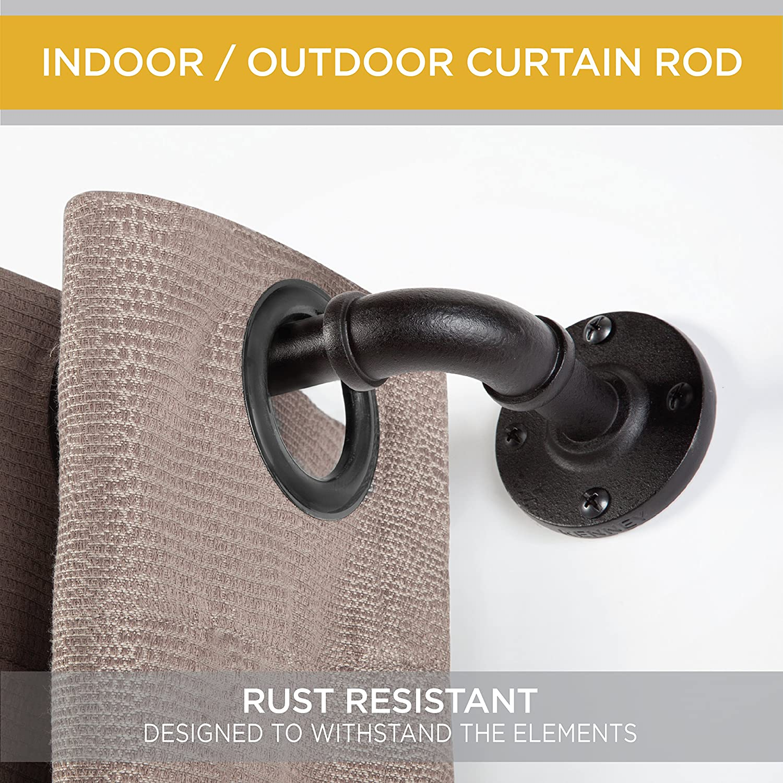 Outdoor curtain weights - Amazon Com Kenney Kn90031 Adler Outdoor Window Curtain Rod 48 84 Home Kitchen