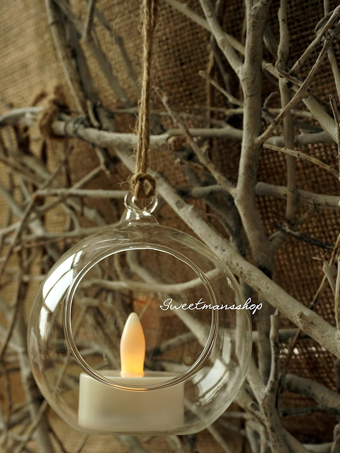 4 X HANGING GLASS BAUBLE SPHERE BALL CANDLE TEA LIGHT HOLDER CLEAR GARDEN OUTDOOR 8 cm by Succulent Style