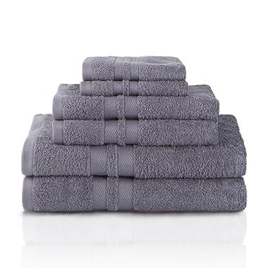 Superior 100% Premium Cotton Ultra Soft 6 Piece Towel Set, 2 Bath Towels, 2 Hand Towels, and 2 Washcloths with Unique Honeycomb Double Border, Charcoal