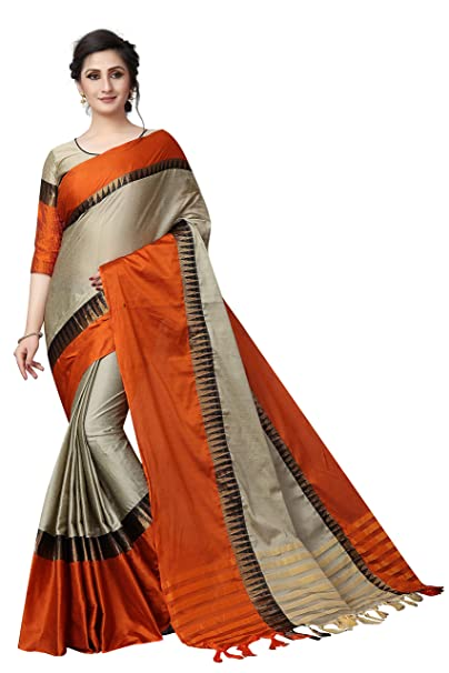 fc5a8f6e45e63 Women s cotton Silk Saree With Blouse Piece (TempleVisvaVatiation)  (BiegeFanta)