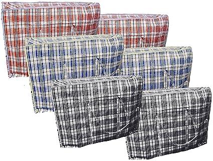 FARIL 6 x Grande Fuerte de lavandería Bolsa de la Compra Reutilizable Bolsas con Cremallera Tienda
