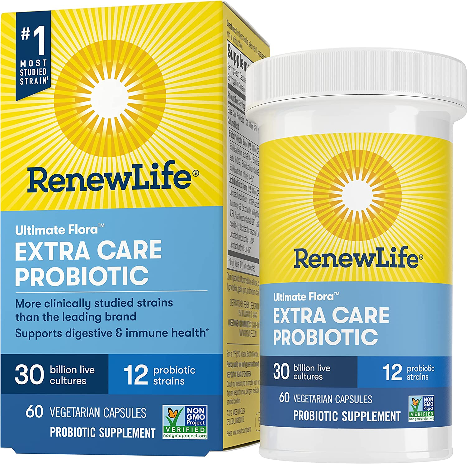 Renew Life Adult Probiotics 30 Billion CFU Guaranteed, 12 Strains, For Men & Women, Shelf Stable, Gluten Dairy & Soy Free, Ultimate Flora Extra Care, 60 Count, Pack of 1: Health & Personal Care