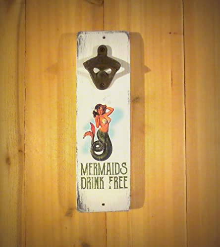 Amazon.com: Mermaids Drink For Free Vintage Styled Wall Mounted ...