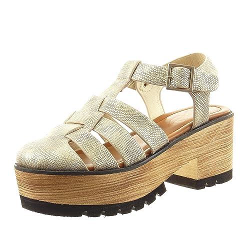 Sopily - Zapatillas de Moda Sandalias zapatillas de plataforma abierto Tobillo mujer madera Talón Tacón ancho