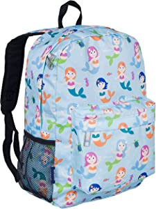 Wildkin Kids 16 Inch Backpack for Boys and Girls, Ideal Size for Kindergarten, Elementary, and Middle School, Perfect for School and Travel, 600 Denier Polyester, BPA-Free, Olive Kids (Mermaids)