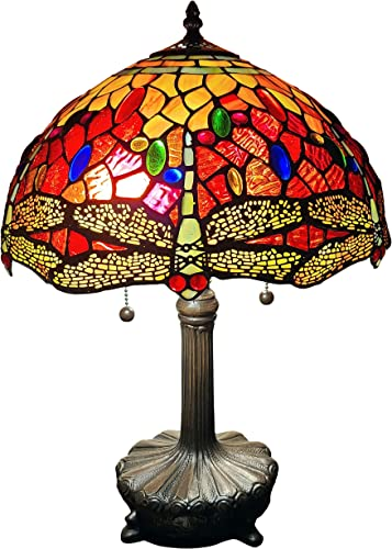 Amora Lighting Tiffany Style Table Lamp Banker 18.5 Tall Stained Glass Red Blue Yellow Dragonfly Antique Vintage Light Decor Nightstand Living Room Bedroom Handmade Gift AM1035TL14B, Multicolor