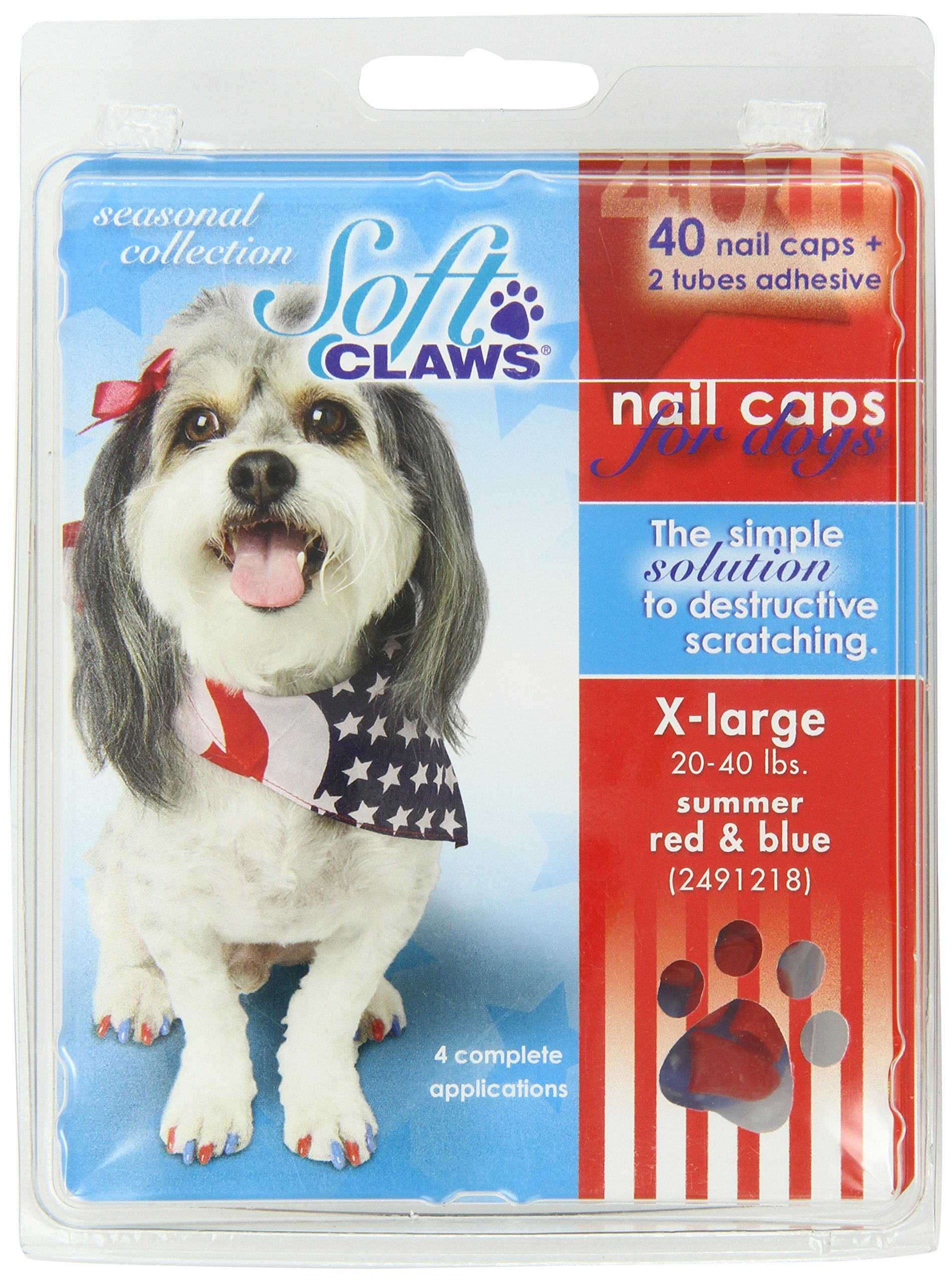 Soft Claws Canine 40-Pack Summer Colors Dog Nail Caps Kit, X-Large, Red and Blue