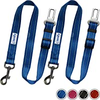 Zenify Dog Car Seat Belt Seatbelt Lead Puppy Harness - Heavy Duty Adjustable Carseat Clip Buckle Leash for Dogs Puppies Pets Travel - Pet Safe Collar Accessories Supplies Truck Safety (Blue 2 Pack)