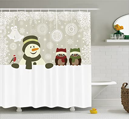 Ambesonne Christmas Shower Curtain Snowman And Owls In Snowy Winter Day With Jingle Bells