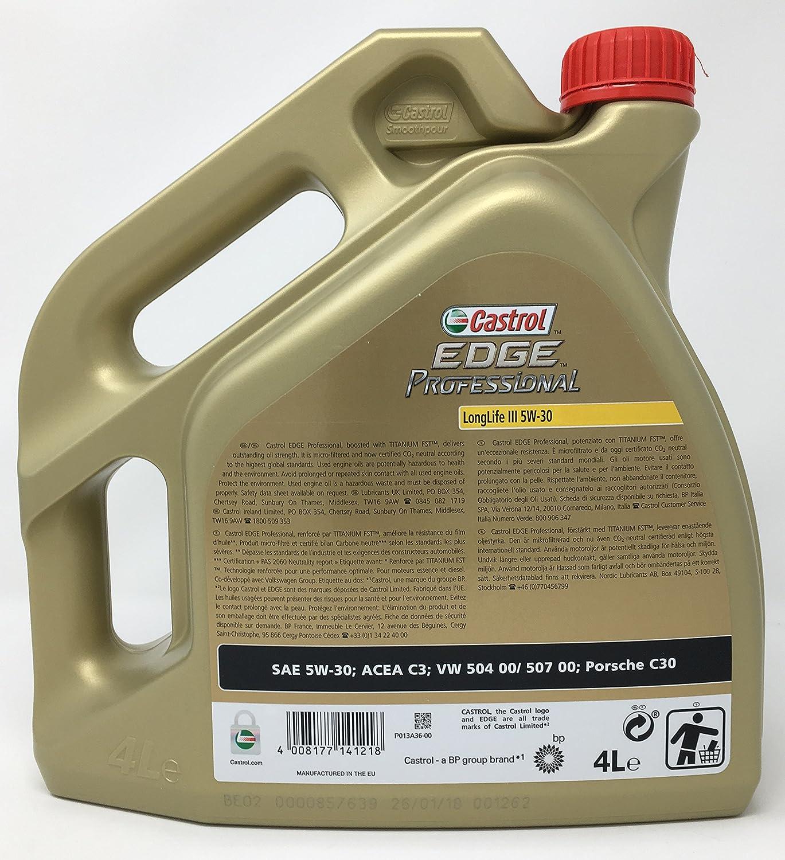 Aceite para motor Castrol Edge Professional LongLife III 5W-30, 5 litros (Nuevo envase 2018): Amazon.es: Coche y moto