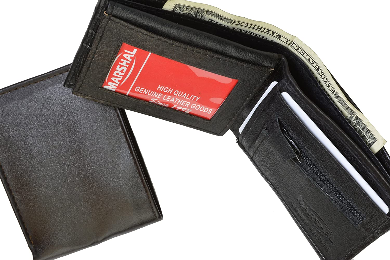 ID and Credit Card Bifold Wallet with Zipped Coin Slot by Marshal