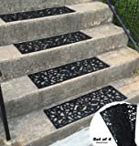 Traction Control Non-Slip Rubber Unique Stair Tread Black Mats Set of 4 byHomecricket