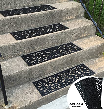 Traction Control Non Slip Rubber Unique Stair Tread Black Mats Set Of 4  ByHomecricket