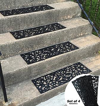 Traction Control Non Slip Rubber Unique Stair Tread Black Mats Set Of 4  ByHomecricket