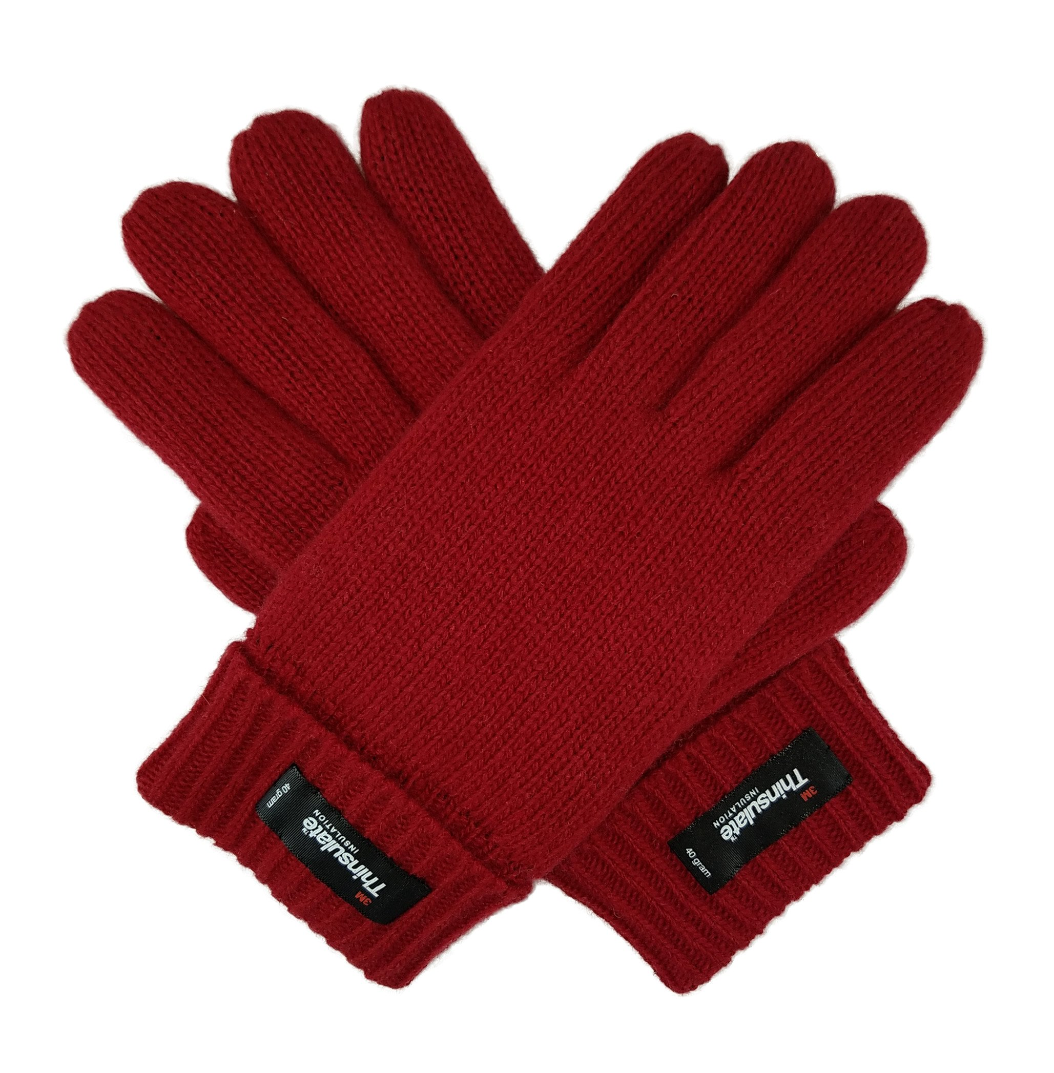 Bruceriver Ladie's Wool Knit Gloves with Thinsulate Lining Size L (Red)