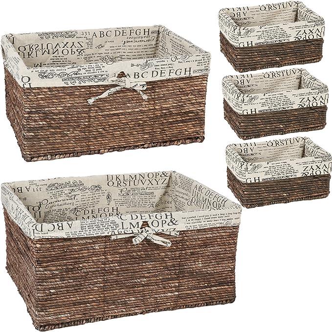 Amazon Com Wicker Basket Woven Storage Baskets Brown 5 Piece Set Home Kitchen