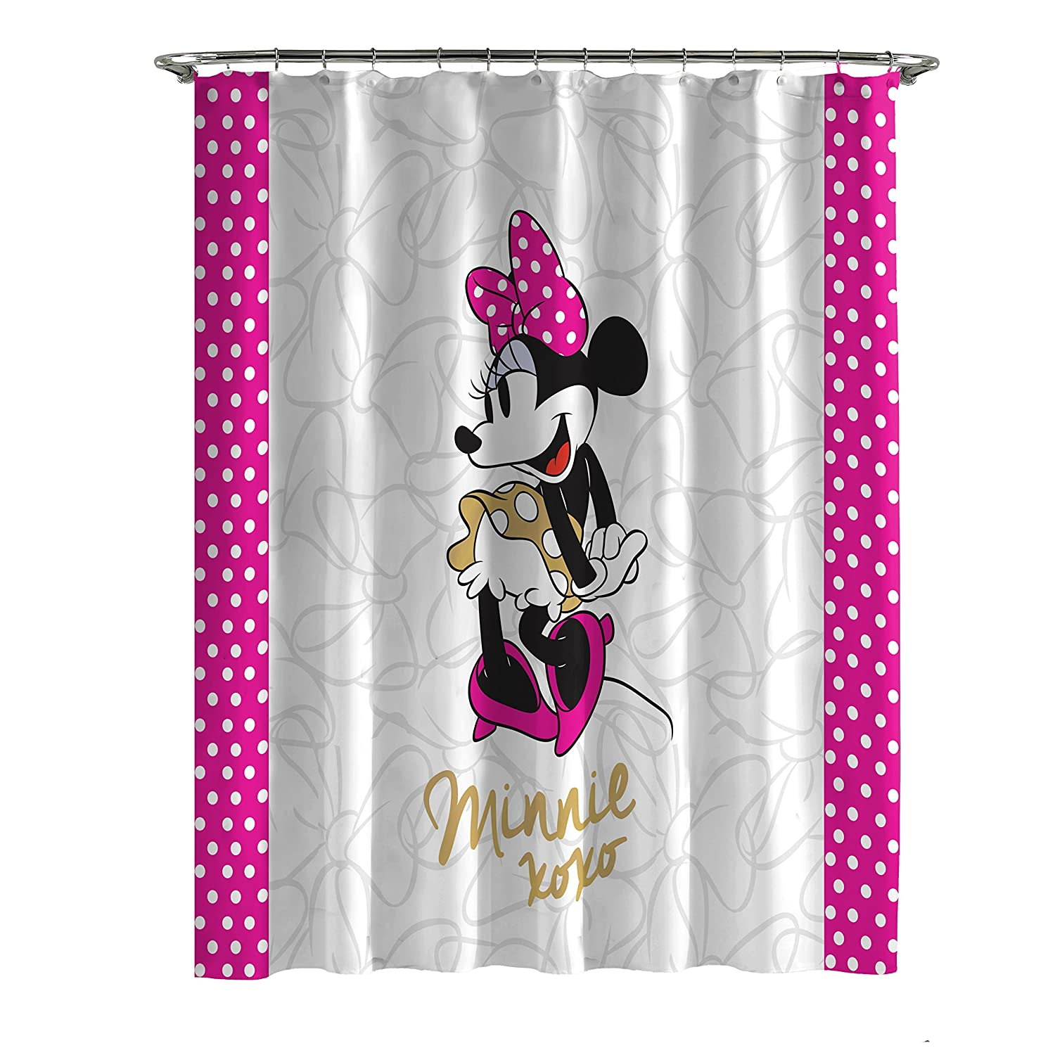 Amazon Jay Franco Minnie XOXO Shower Curtain White Dots Home Kitchen