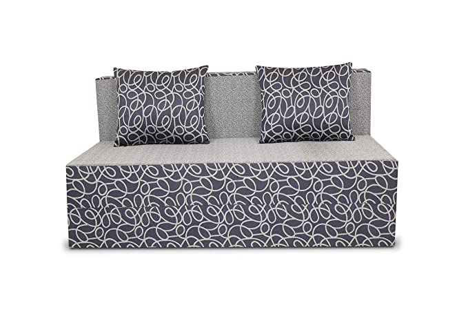 Adorn India Easy Two Seater Sofa Cum Bed Poly Cotton (Brown & Beige) 4'X6' (Blue & Grey)