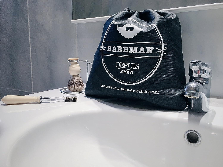 Capa de barbero para afeitarse la barba sin dejar vellos regados Negro el regalo ideal para h/ípsters barbudos. BARBMAN