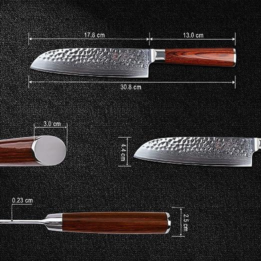 YARENH Cuchillo Japones Santoku 17cm,Cuchillos de Cocina Profesionales de Acero de Japonés Damasco,Cuchillo de Chef Ultra Filoso,Hachas de Cocina ...