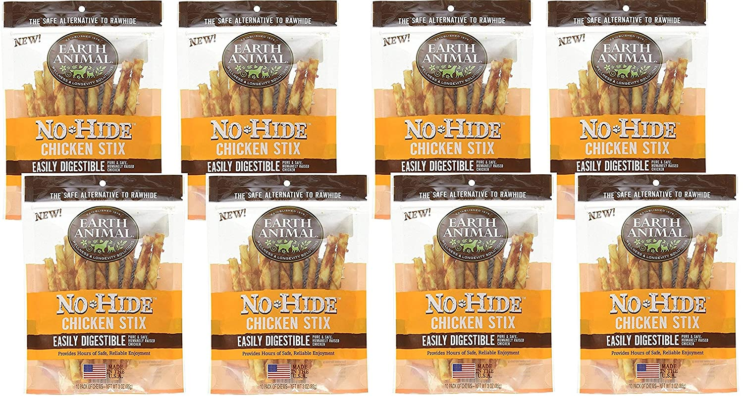 Earth Animal 8 Pack of No-Hide 4.5 Chicken Stix Dog Treats, 10 Per Bag