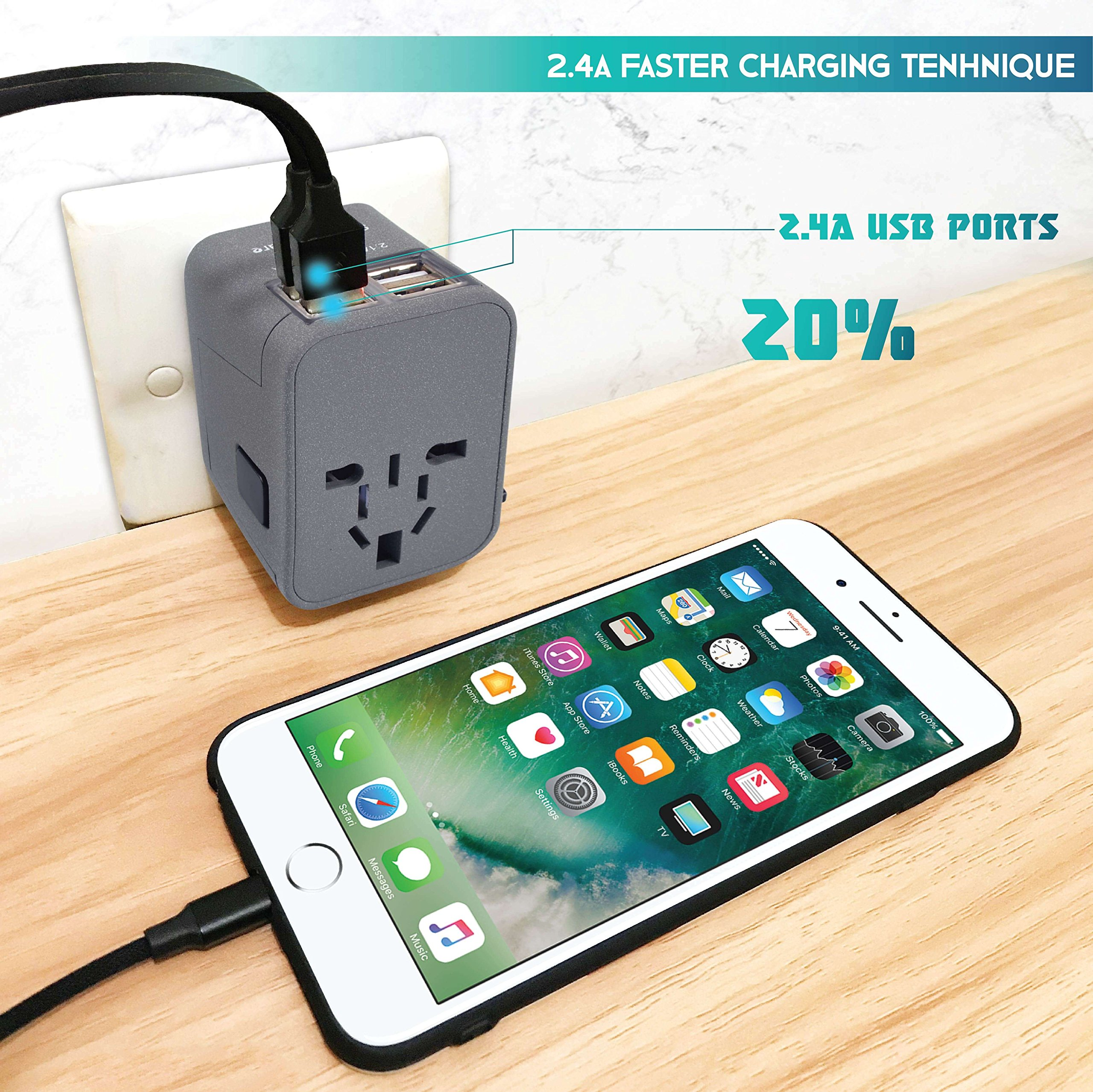 Travel Adapter - Power Plug Outlet - International Travel (Sand Grey)- w/4 USB Ports Work for 150+ Countries - 220 Volt Adapter - Type C A G I for UK Japan China EU Europe European