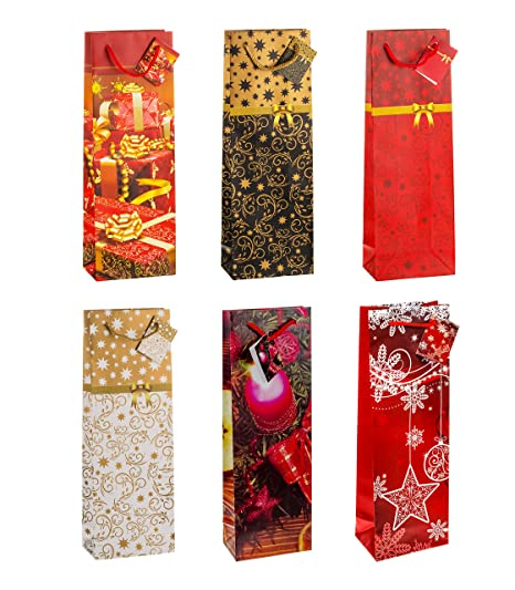 TSI - Bolsas de regalo para botellas (12 unidades, 6 modelos ...