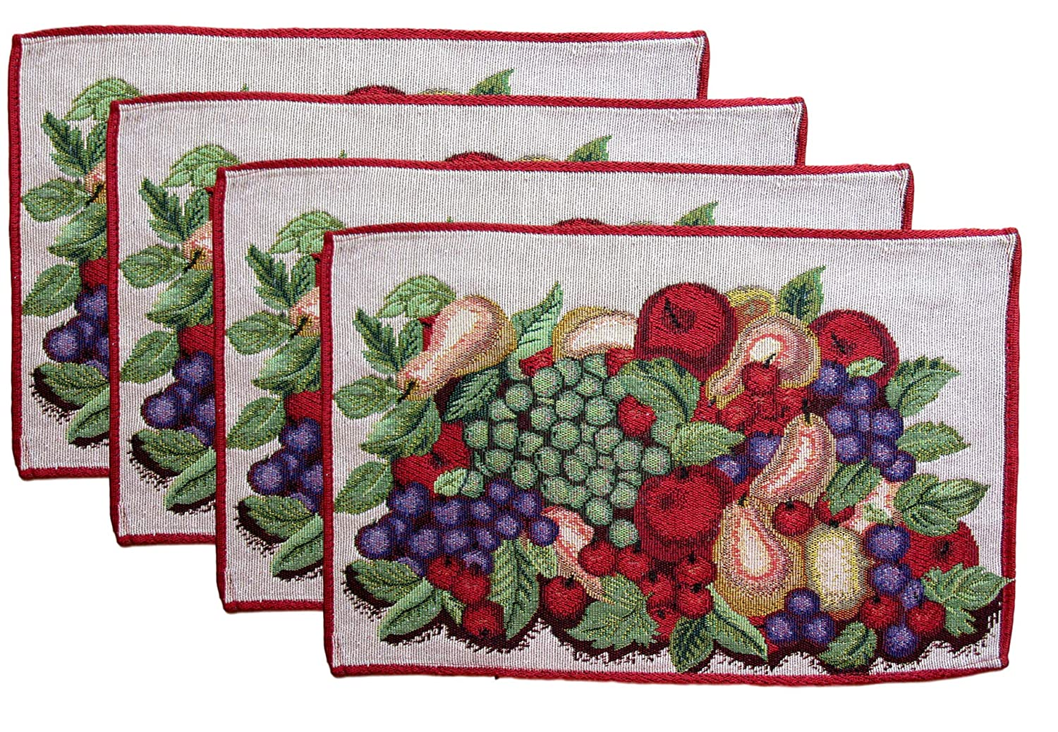 Woven Tapestry Wine Cheese and Grapes Place Mats Set of 4 Fruit Bowl - Green and Purple Grapes