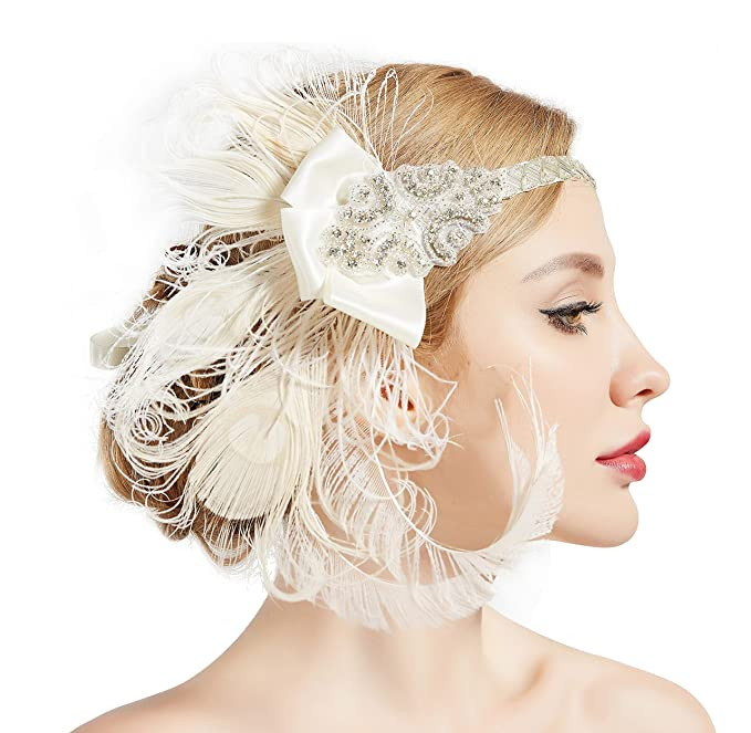 1920s Wedding Dresses- Art Deco Wedding Dress, Gatsby Wedding Dress BABEYOND 1920s Flapper Peacock Feather Headband 20s Sequined Showgirl Headpiece $18.99 AT vintagedancer.com
