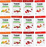 Think Jerky Grass-Fed Beef and Free-Range Gluten Free Turkey Jerky Variety,1.5 oz, Pack of 12 - Variety Pack