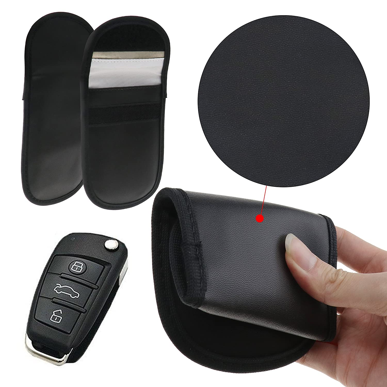 Micro Trader 2x RFID Signal Blocker Pouch Car Keyless Entry Key Signal Blocker Case Bag