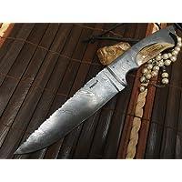 damas main couteau de chasse avec étui en cuir damas