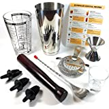 Boston Shaker Home Bar Set 10 piece Cocktail Shaker Set | Essential Premium Quality Bar Supplies | Shaker, Mixing Glass, Strainer, Muddler, Jigger + More | Mix Drinks Like a Pro | 25 Cocktail Recipes